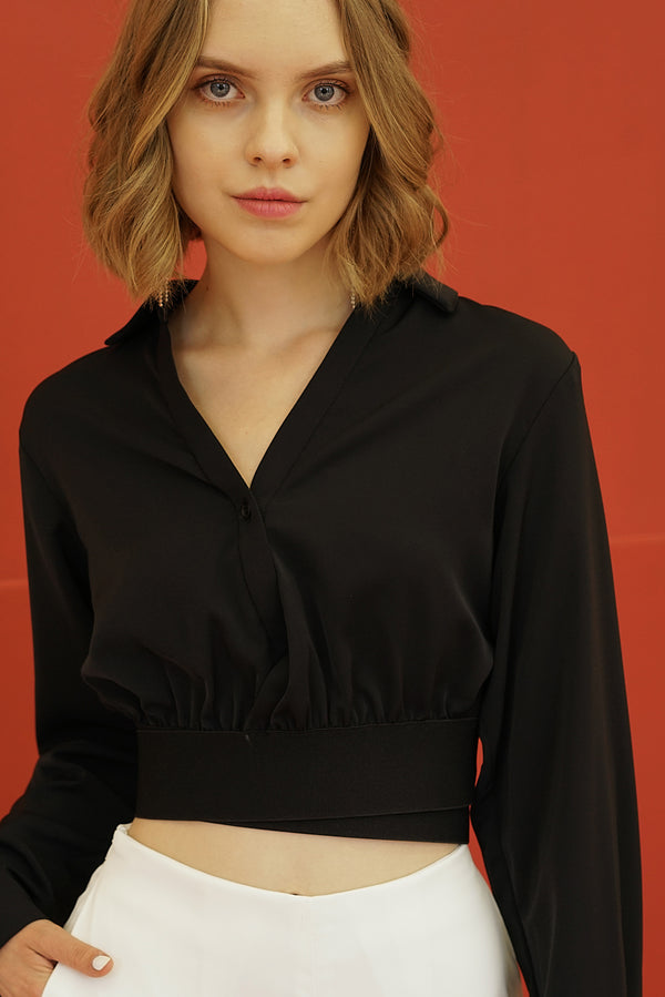 CHIC STYLE SHORT BLOUSE | BLACK