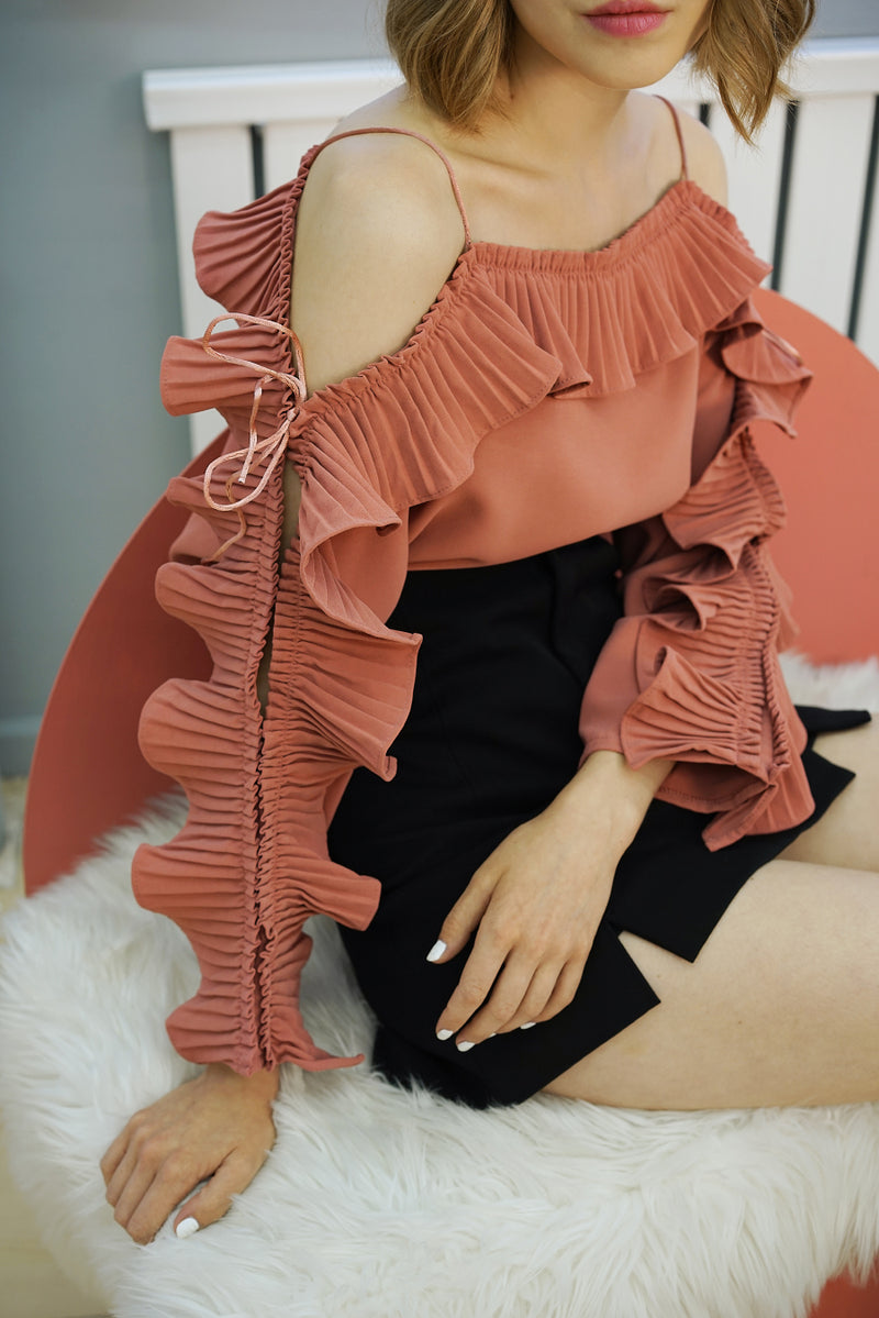 RUFFLE SLEEVES BLOUSE | CORAL