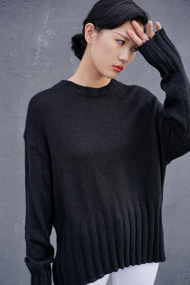 Ribbed Hem Three Colors Knit Top | Black