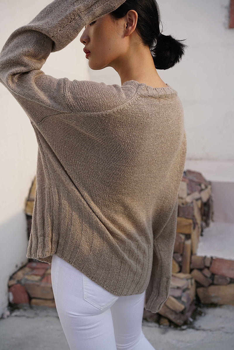 Ribbed Hem Three Colors Knit Top | Oatmeal