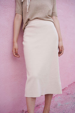 Soft Touch Overknee Skirt | Beige