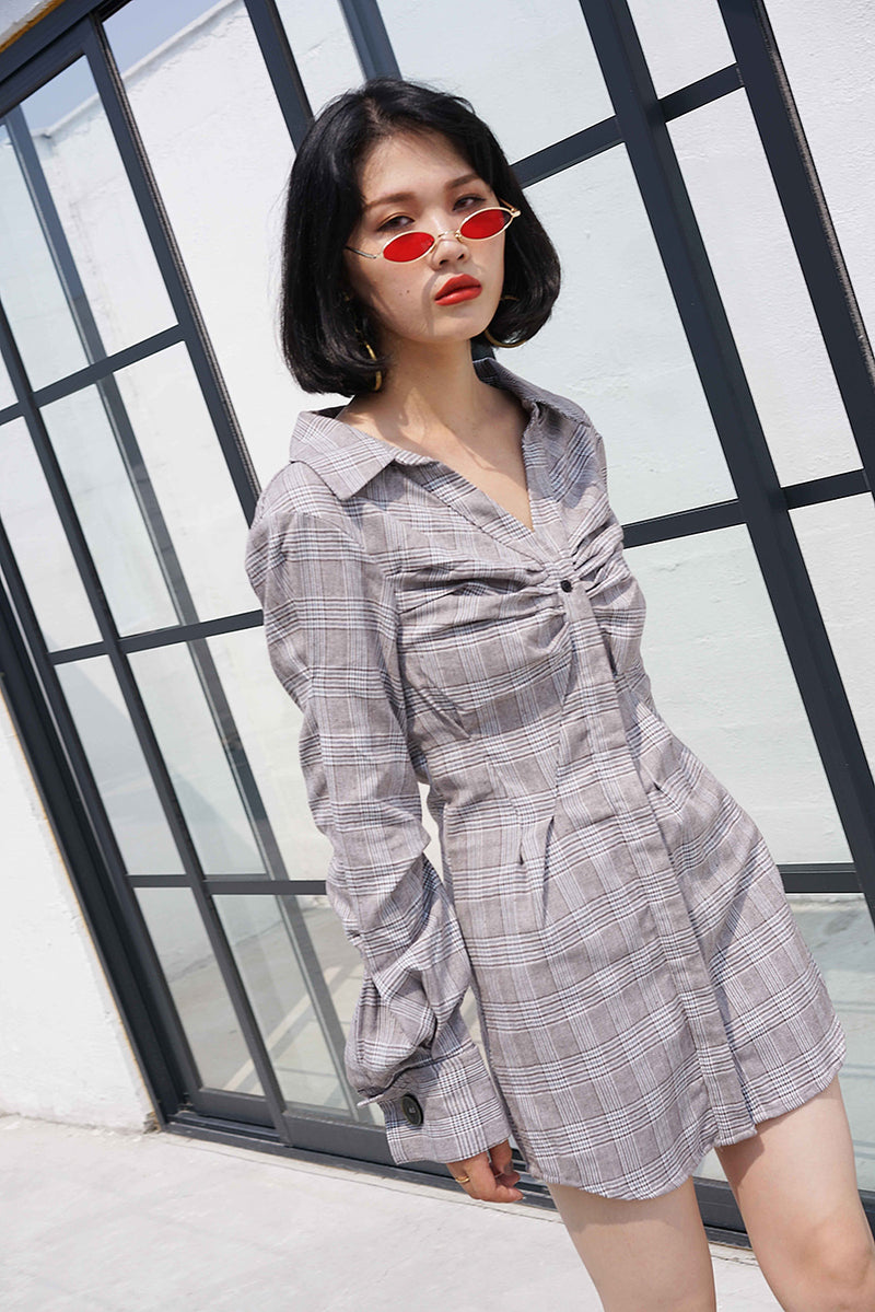 Chic Style Grey Plaid Shirt Dress