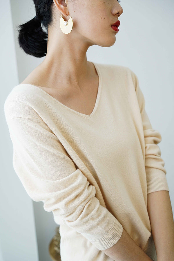 Cashmere V- Neck Knit Top Beige