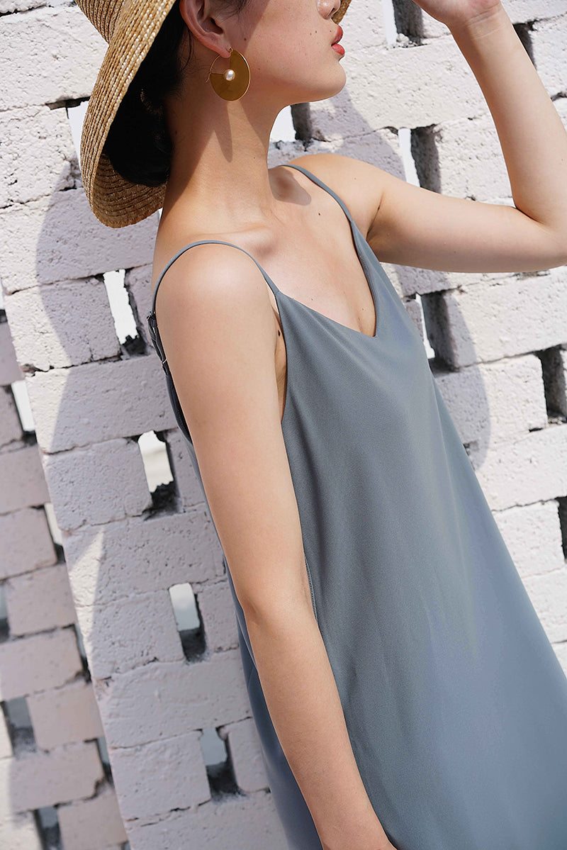 Elegant V Line Slip Dress | Blue