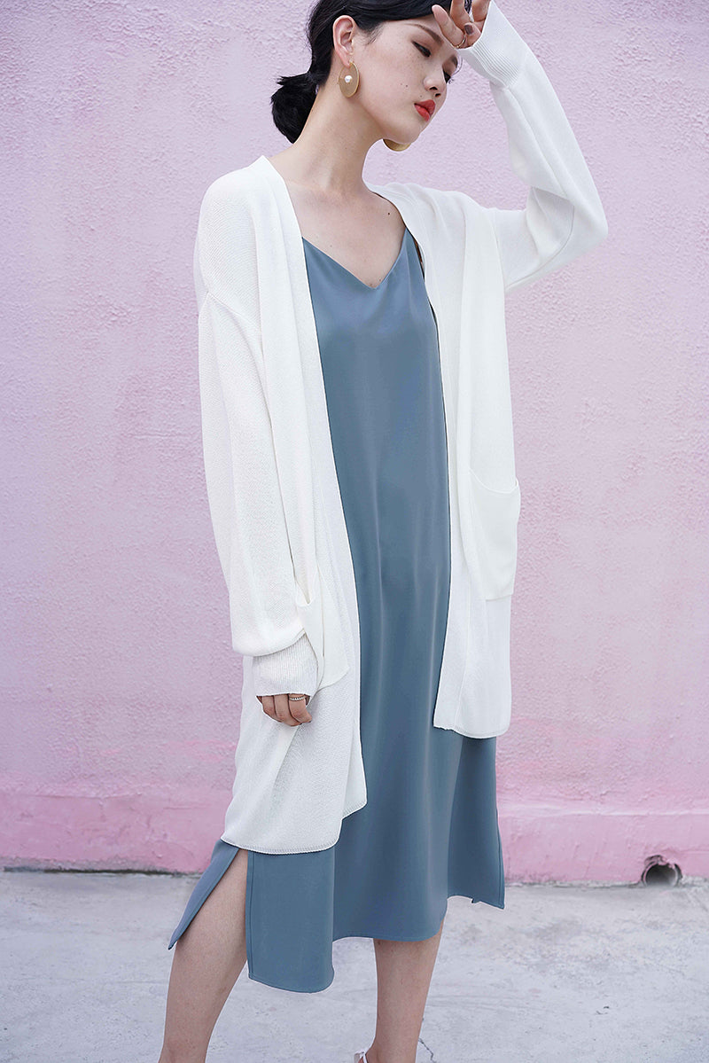 solid knit coat | long-style white