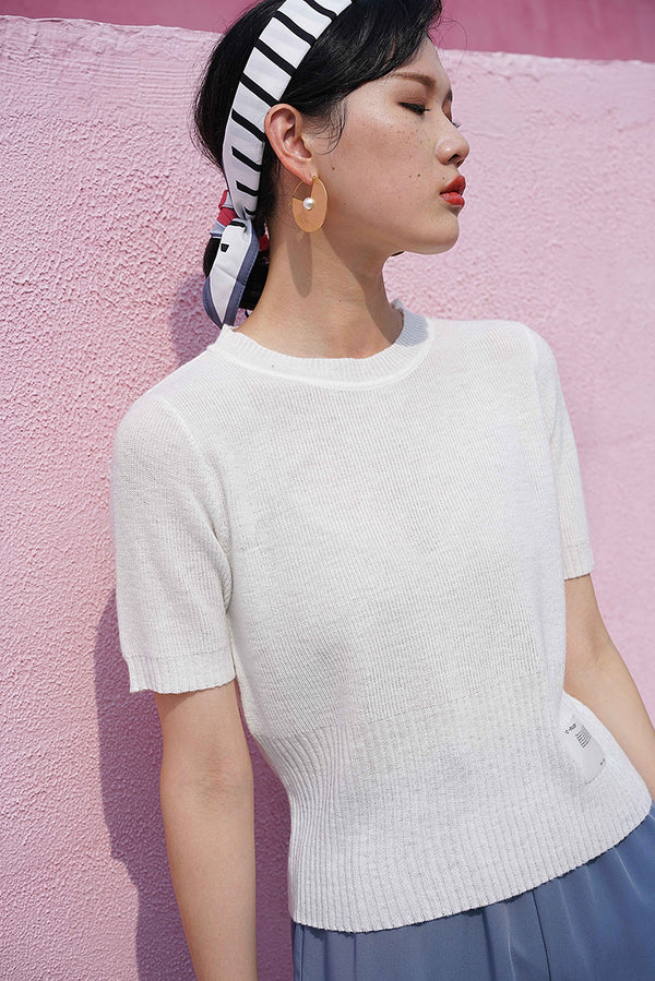 Soft Touch Knit Top | White
