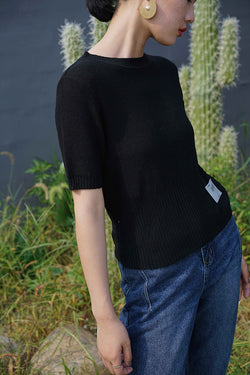 Soft Touch Knit Top | Black