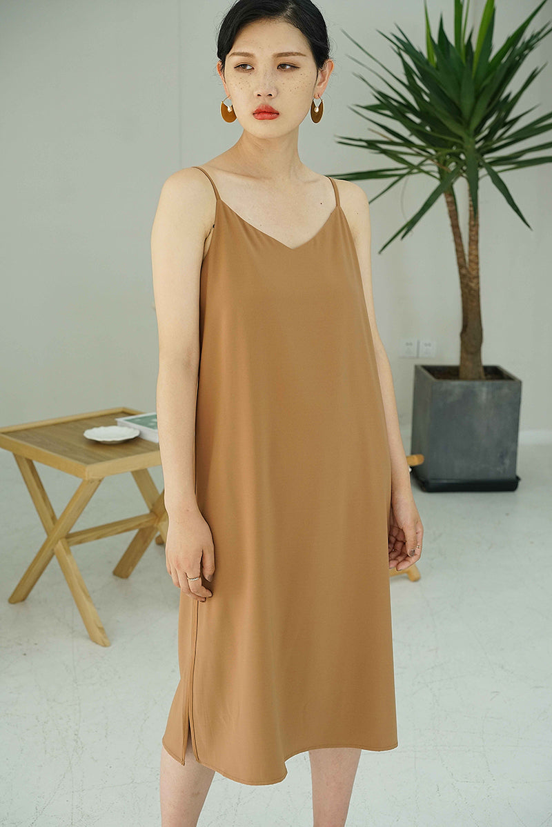 Elegant V Line Slip Dress | Caramel