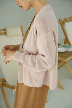 solid knit coat | short-style pink
