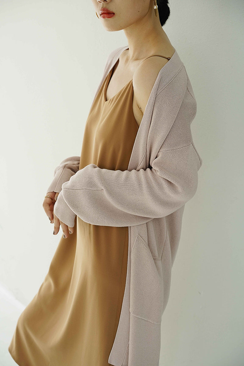 solid knit coat | long-style pink