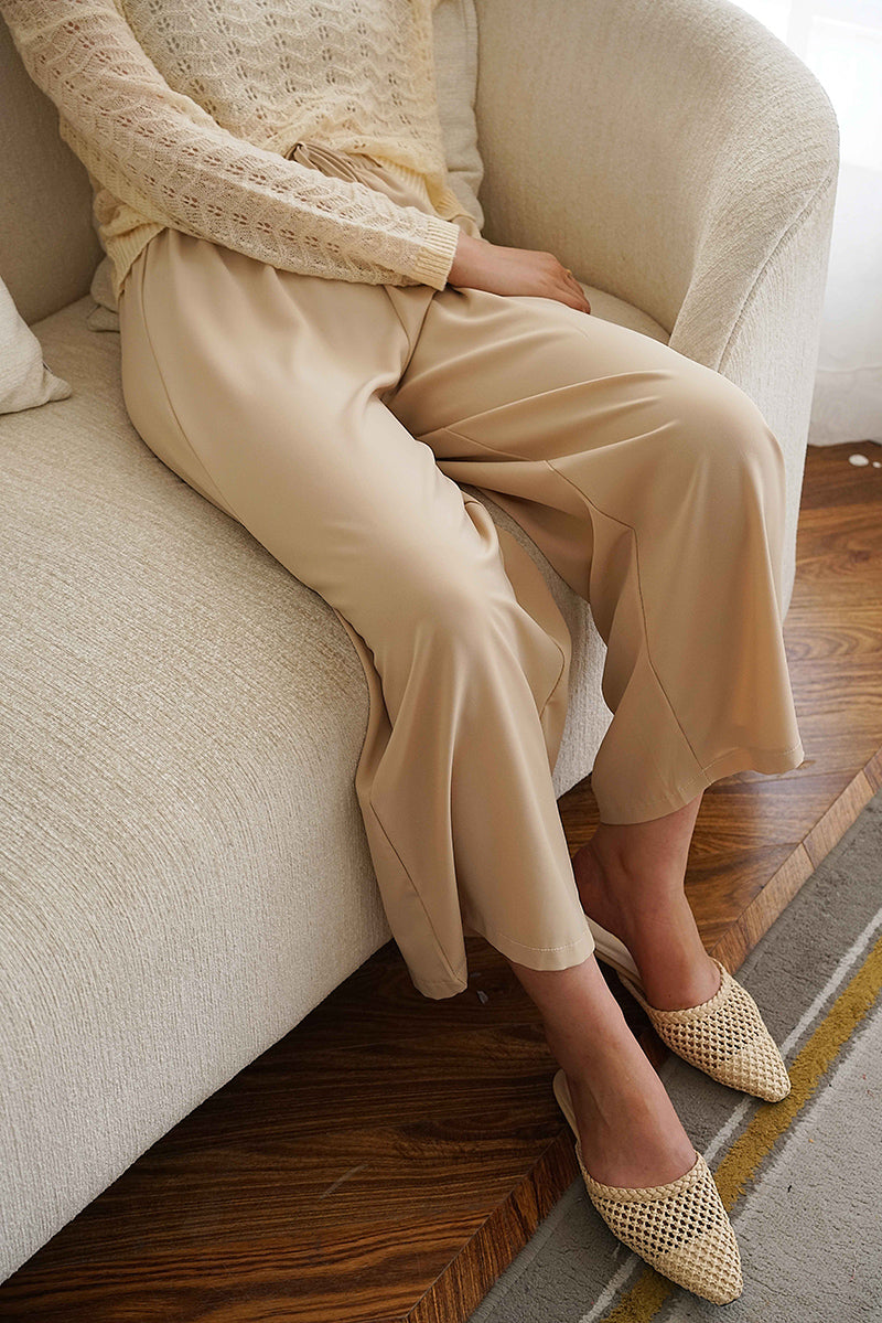 SILK FEEL WIDE LEG TROUSERS | BEIGE