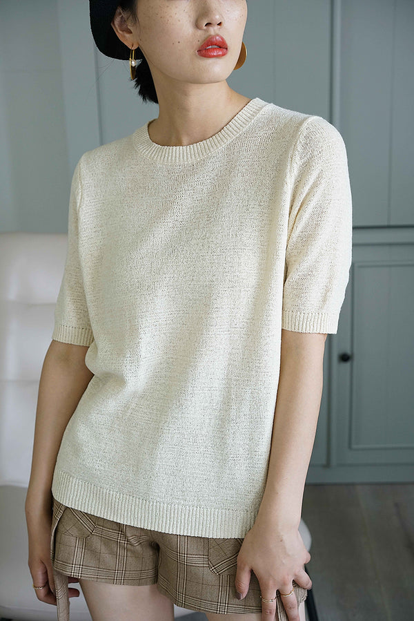 THREE COLORS BASIC KNIT TOP BEIGE