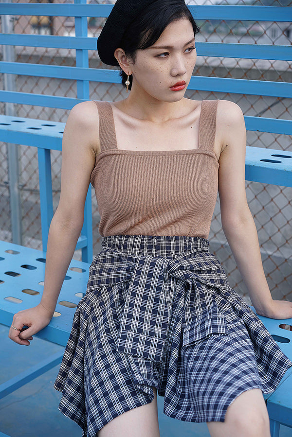 Grid fake two pieces skirt