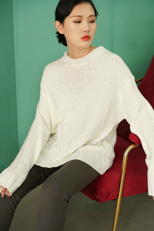 Ribbed Hem Three Colors Knit Top | White