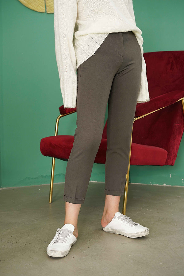 Slim Stretch Fabric Suit Pants | Pickles green