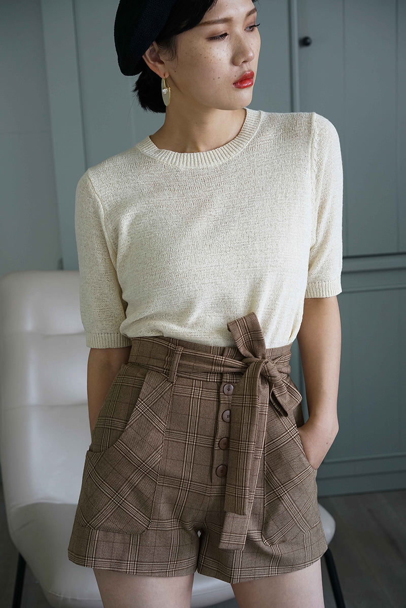 Antique Grid Button Short Pants