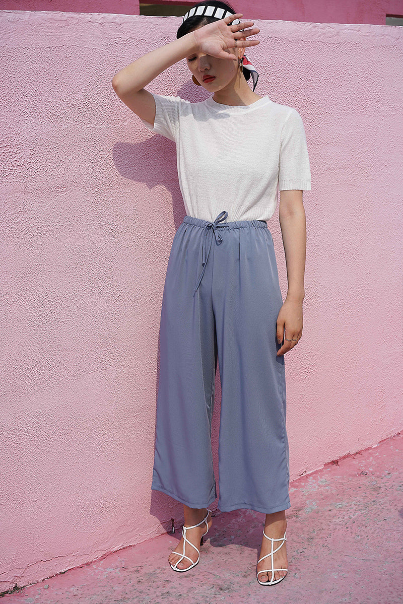 SILK FEEL WIDE LEG TROUSERS | SKY BLUE
