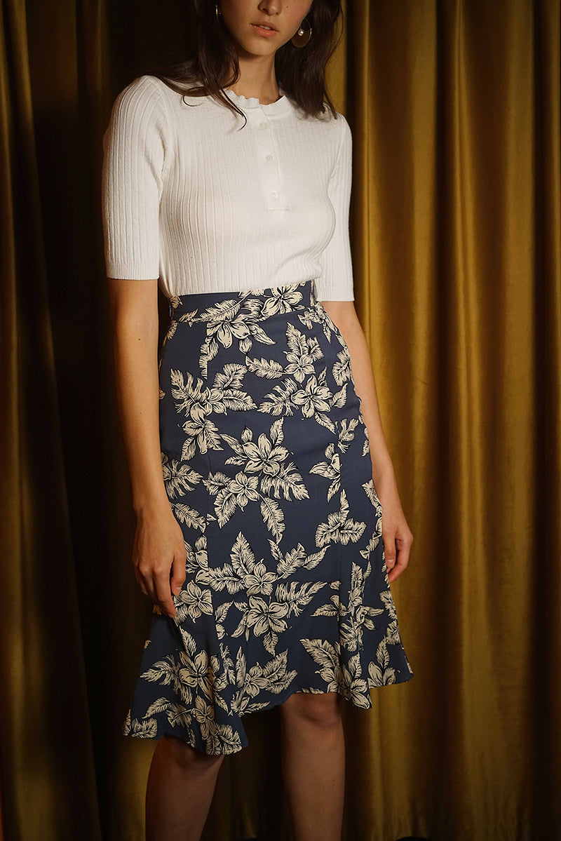 FLORAL PRINT SKIRT | HAZE BLUE