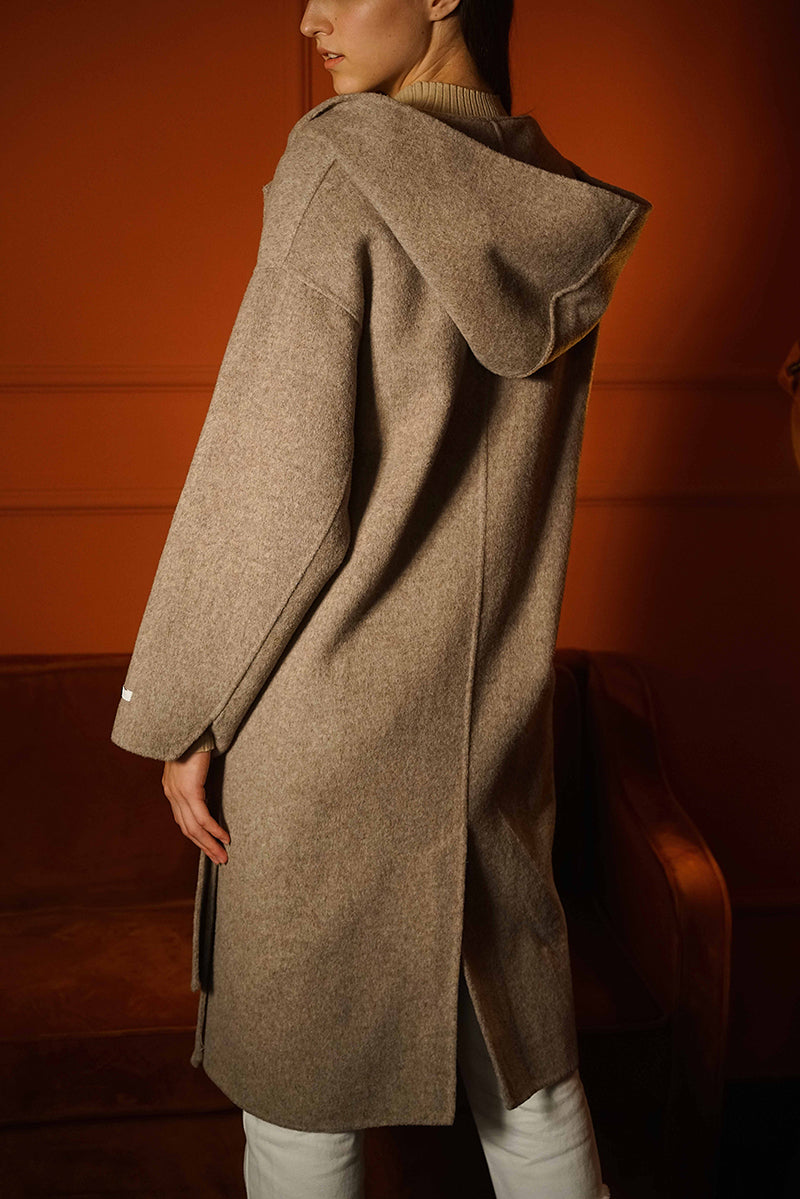 50%WOOL HOODED CAPE COATCOAT