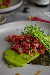 Wasabi Pea Puree with Enchanted Garden Riesling