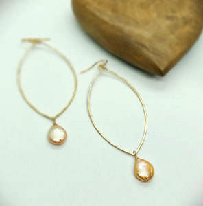 Champagne Pearl Hoop Earrings
