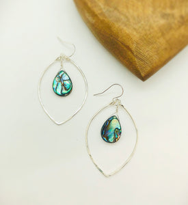 Beach Babe Abalone Lotus Hoop Earrings