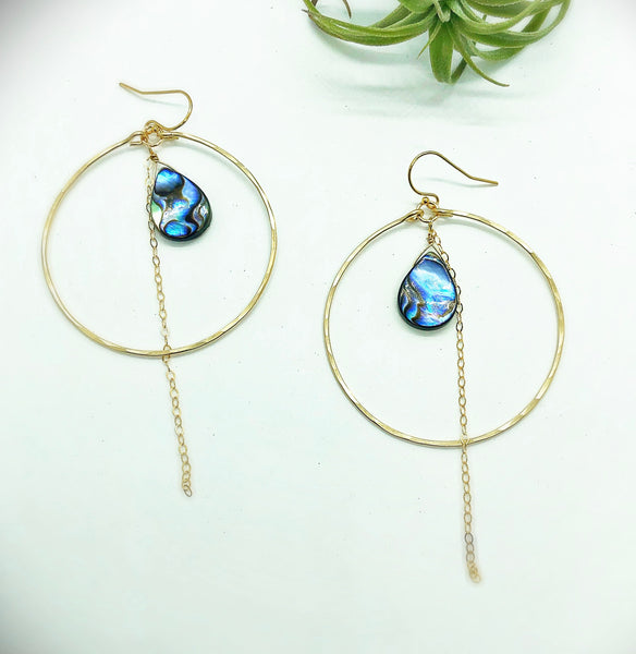 Beach Babe Abalone Chain Hoop Earrings