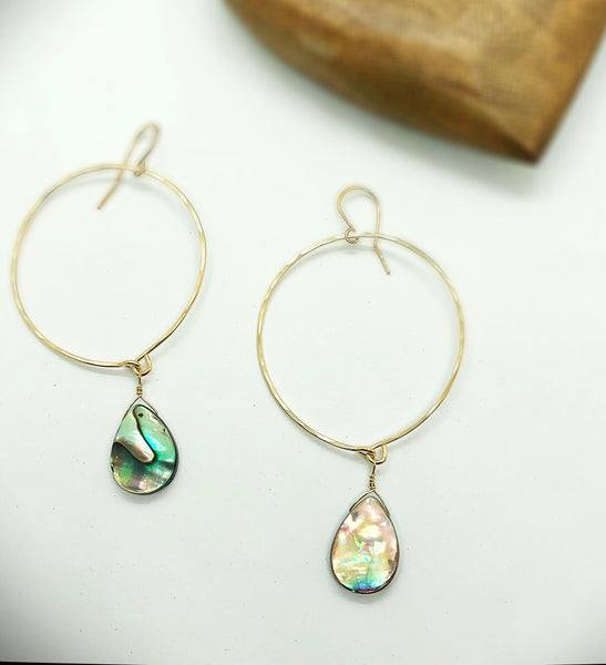 Beach Babe Abalone Hoop Earrings