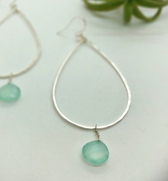 Blue Sky Raindrop Hoop Earrings Large