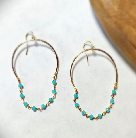 Lisa Chalcedony Chain Hoops