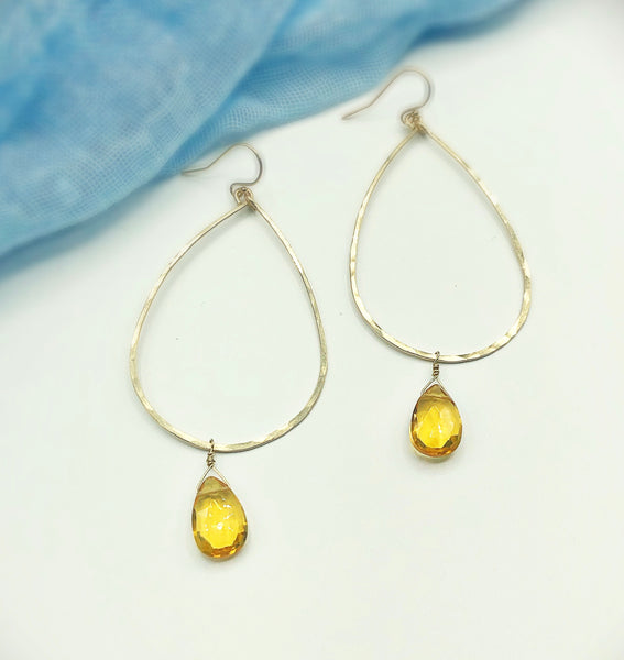 Sunset Raindrop Hoop Earrings