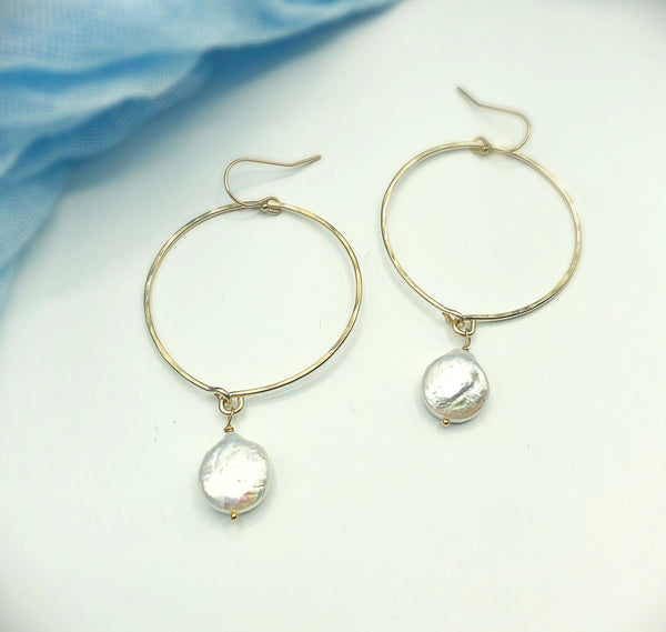 Charlie Pearl Hoop Earrings