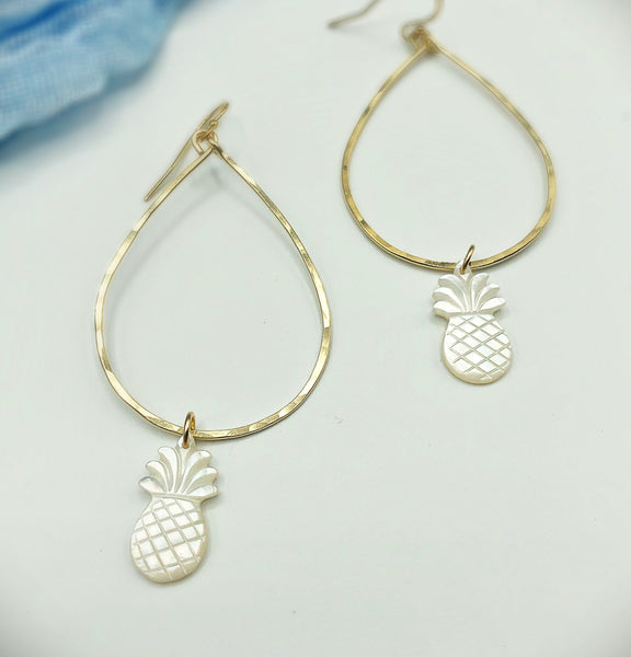 Pineapple Raindrop Hoop Earrings