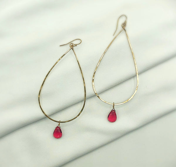 Pink Sky Tourmaline Raindrop Hoop Earrings