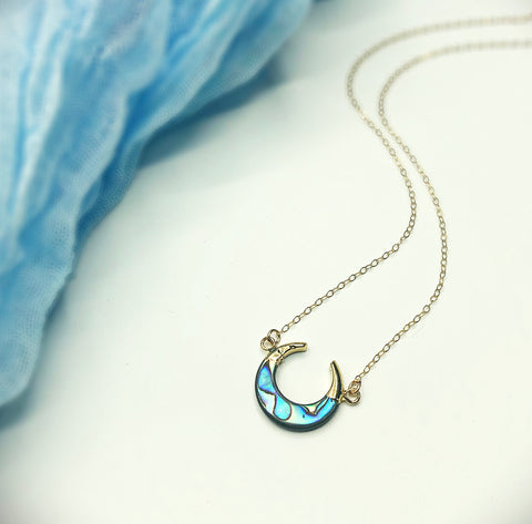 Beach Babe Abalone Double Horned Moon Necklace