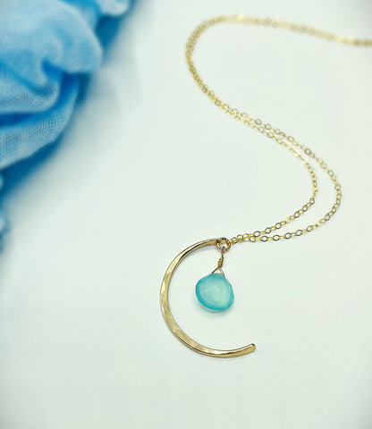 Blue Sky Moon Necklace