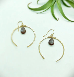 Chocolate Moonstone Moon Earrings
