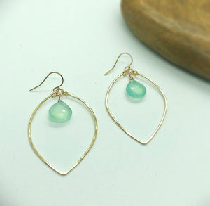 Blue Sky Lotus Hoop Earrings Small