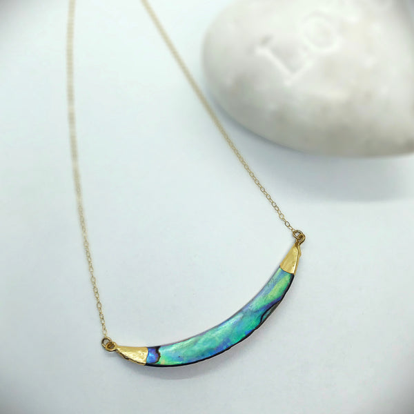 Beach Babe Abalone Curved Bar Necklace