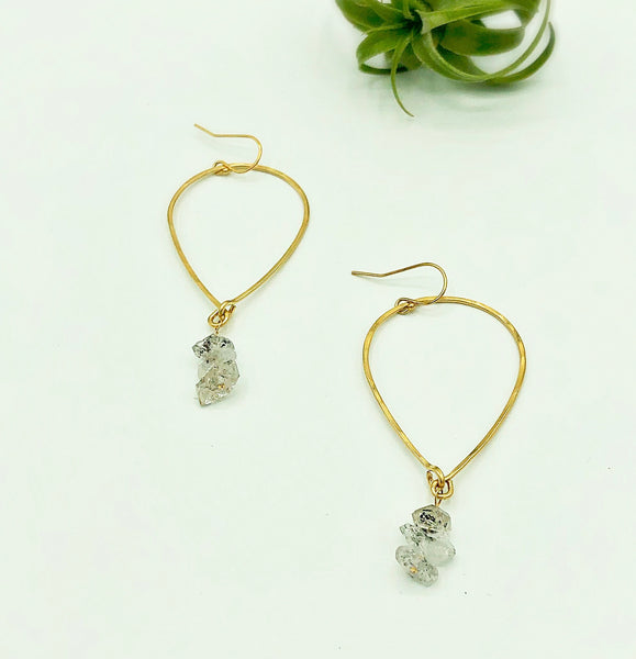 Salt Water Upside Down Raindrop Hoop Earrings