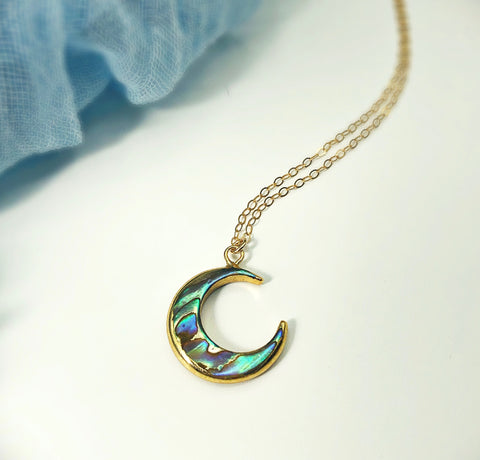 Beach Babe Abalone Moon Necklace