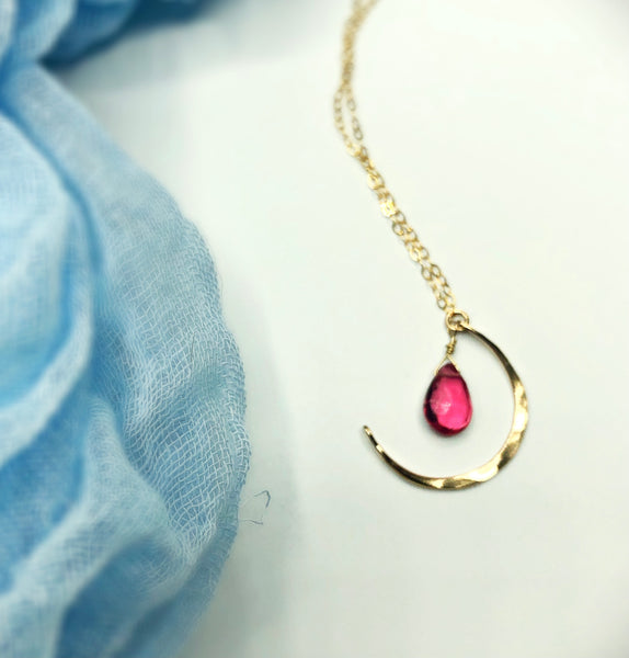 Pink Sky Moon Necklace