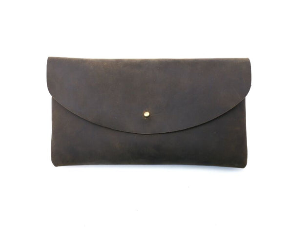 Foxtail Goods - Leather Envelope Clutch - Coffee