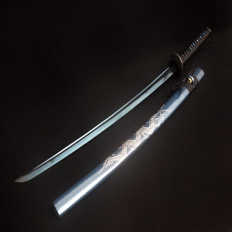 Handmade Japanese Samurai Sword Blue Dragon Katana