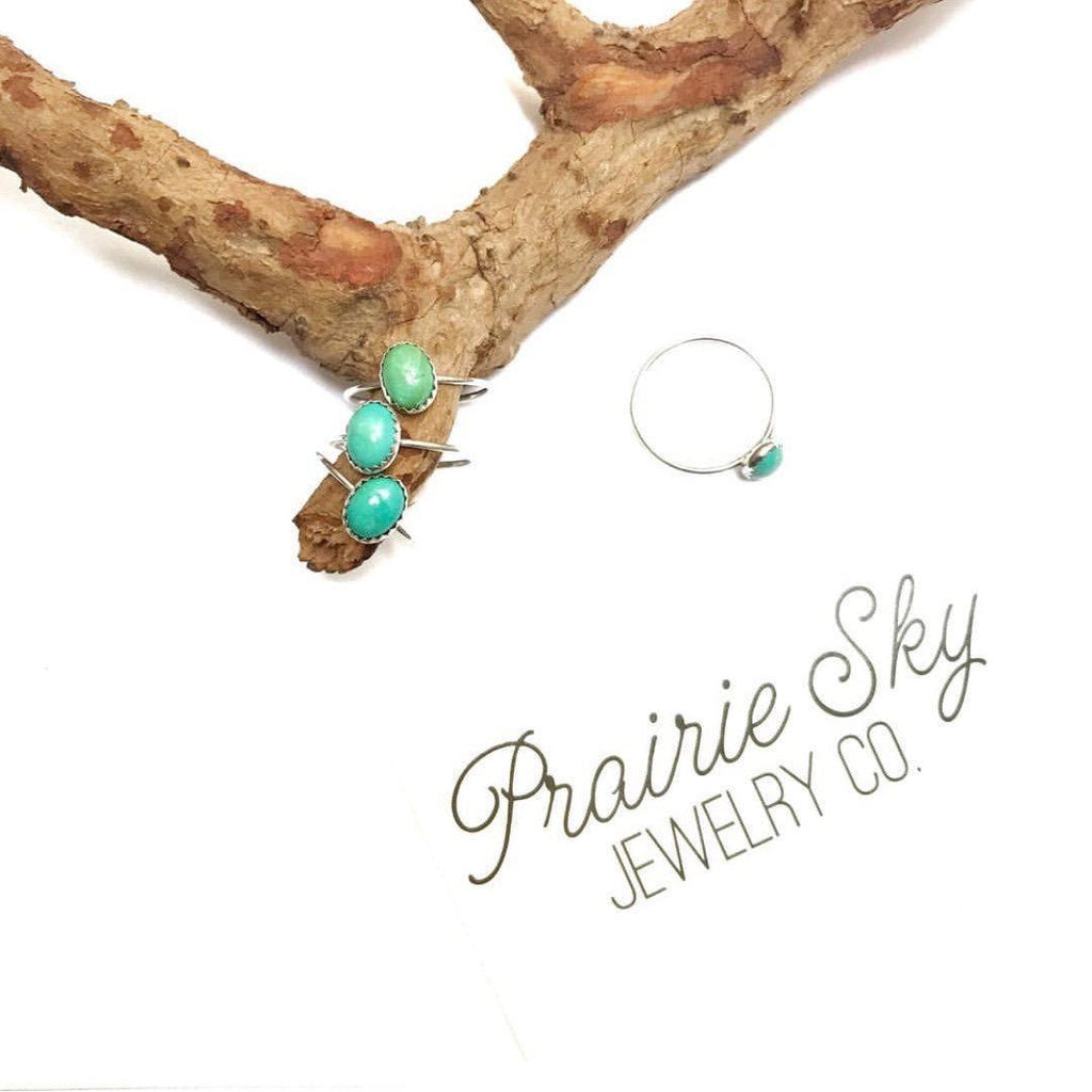 Dainty Turquoise Stacking Ring Prairie Sky
