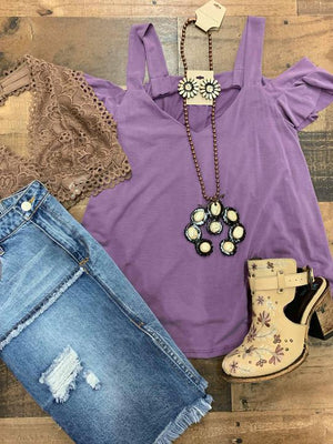 cold shoulder simple top- purple