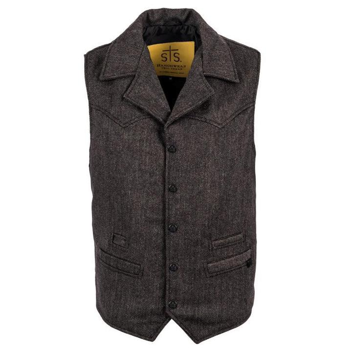 The Gambler Vest (black tweed) sts