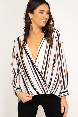 Stripe Cross Front Top