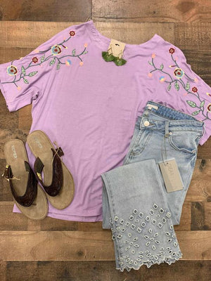 lavender embroidered shirt