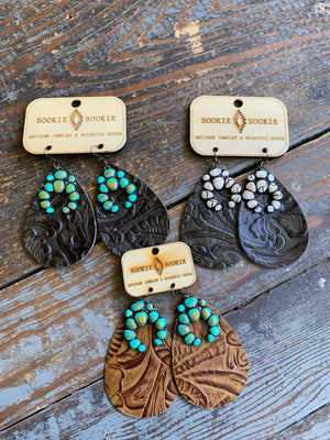 Turquoise Blanco Earrings on Black Sookie Sookie